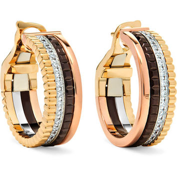 Boucheron - Quatre Classique 18-karat yellow, rose and white gold diamond hoop earrings