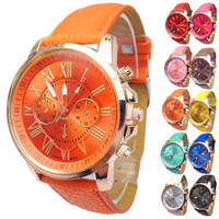 2015 Women Stylish Numerals Faux Leather Analog Quartz Wrist Watch = 1932299012
