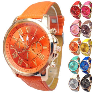 2015 Women Stylish Geneva Numerals Faux Leather Analog Quartz Wrist Watch = 1932557828