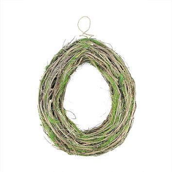 "15.5"" Brown Grapevine Twig and Green Moss Egg-Shaped Artificial Spring Wreath"