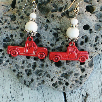 Red Truck Earrings Vintage TRUCK EARRINGS ReD Patina EaRrInGs White Mountain Jade Bead Earrings Nickel Free Country Girl Earring
