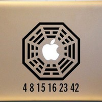 Lost Dharma Initiative with Lost Numbers Vinyl Decal MACBOOK Mac | MakeItMineDesigns - Techcraft on ArtFire