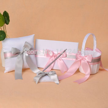 Free shipping,set of 4pcs White and Pink Silver Bowknot Wedding Guest Book Pen Holder Ring Pillow Basket Set accessories WS03