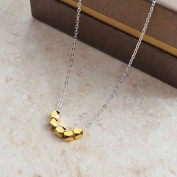 Handmade Gold nuggets necklace - everyday, birthday gift.