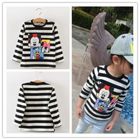 Children Clothing Spring and Autumn Carton Printing Micky Cute Soft Kids Long Sleeved Basic Coat Stripes Boys Fashion Round Collar Clothes