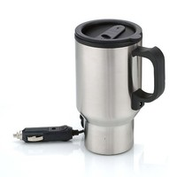 Stainless Steel Heated 12 Volt Travel Mug with Airtight Lid and Anti-Spill Slider Cover