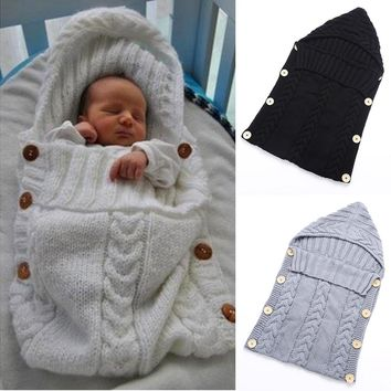 70*35cm Newborn Baby Sleeping Bag Winter Warm Wool Knitted Hoodie Swaddle Wrap Cute Soft Infant Swaddling Blanket Sleeping Bag