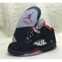"Supreme x Air Jordan 5 ""Black"" SUP 824371-001 nike aj5 basketball men shoes ori"