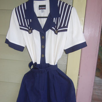 Vintage 80s Striped Navy & White Belted Sailor Nautical Themed Romper Size 8
