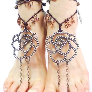 Silver Barefoot sandals, tribal belly Hippie Hipster Boho Dance Ankle wrap sandal Toe Thong bare feet yoga Foot jewelry Toe Anklets