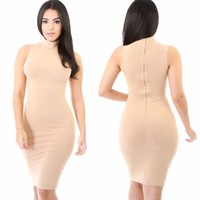 Taupe Sleeveless Knit Turtle Neck Midi with Exposed Zipper Dress Sizes S-M-L