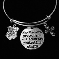 May the Lord Protect You Police Officer Adjustable Bracelet Expandable Wire Bangle Occupational Police Badge Gift