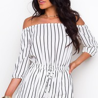 Sizzlin' Summer Off The Shoulder Romper - White