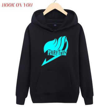 2017 Fashion Hot Noctilucence Luminous Anim Fairy Tail Men Fleece Printed Pullover Hoodies Lovely Men Clothes Casual Sweatshirt