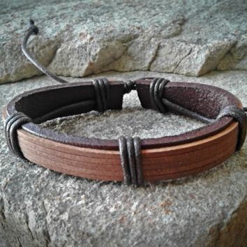 Brown Leather Adjustable Unisex Leather Weave Wrap Bracelets
