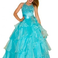 WZY Big Girls' Long Halter Crystals Ruffles Pageant Dress