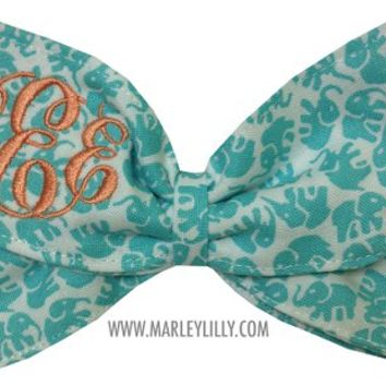 Monogrammed Teal Elephants Hair Bow