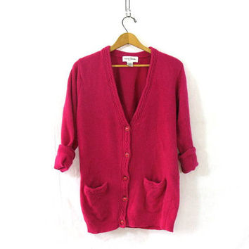 vintage pink cardigan sweater. button down sweater. oversized magenta cardigan. lambswool / angora