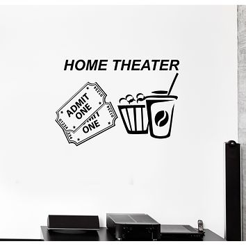 Vinyl Wall Decal Home Theater Tickets Popcorn Cinema Movie Room Interior Stickers Mural (ig6010)