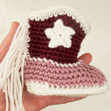 Baby Girl Crochet Cowboy Boots with Fringe, Lavender & Berry Western Boots, Baby  gift, Baby Shower Gift, Handmade, Made in the USA, #223