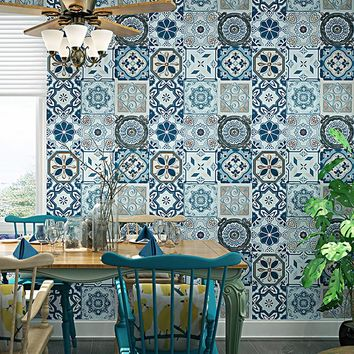 3D Embossed Imitation Ceramic Tile Wallpaper Southeast Asian Style Living Room Bedroom Kitchen Restaurant Background Wall Papers