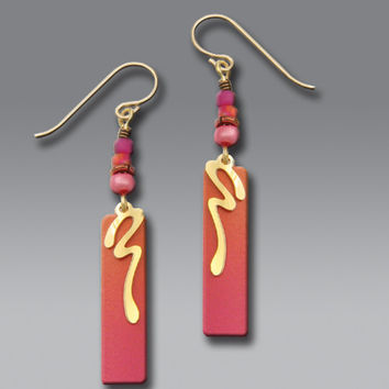 Adajio Earrings - Sunset Colors with Gold Plated Swash and Beads