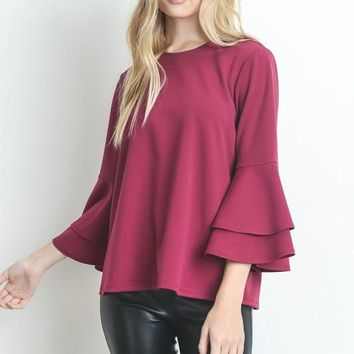 Flare Sleeve Top - Cherry