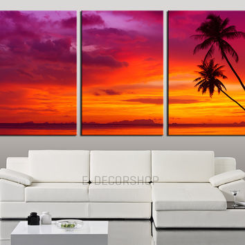 Large Wall Art Palm and Sunset on the Beach Canvas Print - Contemporary 3 Panel Triptych Purple Sunset Canvas Art Large Wall Art