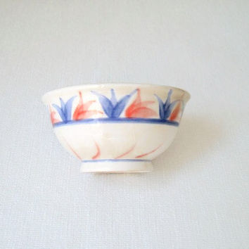 Ceramic Bowl / Soup Bowl/Ceramic Soup Bowl/ Soup Dish/ Serving Bowl/Red and Dark Blue Ceramic Bowl/Nut Bowl/ Nut Dish
