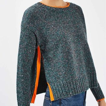 Dark Green Side Split Long Sleeve Knit Sweater