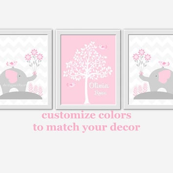 Baby Nursery Wall Art Pink Gray Grey Elephants Silhouette Tree Personalized Room