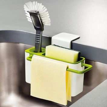 New Sponge Towel Brush Suction Cup Base Kitchen Sink Rack Holder Organizer
