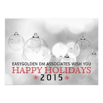 Happy Holidays 2015, Christmas balls modern photo 5x7 Paper Invitation Card