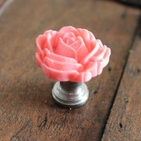 Drawer knobs with Blooming Rose in Salmon Pink MORE COLORS Available (RFK04)