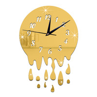 Acrylic Wall Clock Mirror Decoration   golden with scale