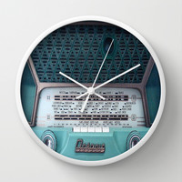 Blue Vintage Radio Wall Clock by 2sweet4words Designs