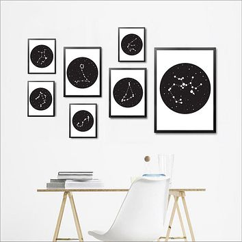 Constellations Sign Art Decor Poster and Print, Constellations of the 12 Zodiac Signs Canvas Painting Picture Wall Decor