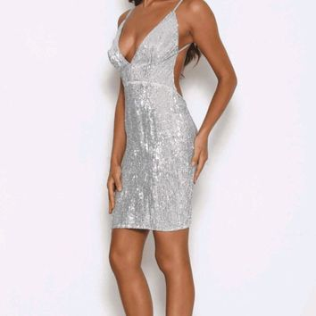 Glamour Addict Silver Sequin Sleeveless Spaghetti Strap Plunge V Backless Bodycon Mini Dress