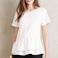 HD in Paris Tiered Peplum Top in Ivory Size: