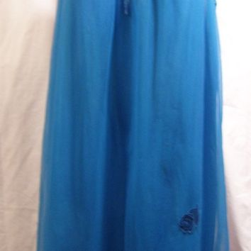 Gossard, Waltz Nightgown, Blue, Chiffon Nylon, Full and flirty, Sexy Night Gown,Lace applique, Size M Medium, Honeymoon, Resort Cruise Wear