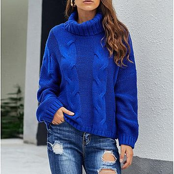 Turtleneck Chunky Pure Color Slouchy Sweater