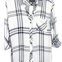 Hunter buttondown in white/black/charcoal