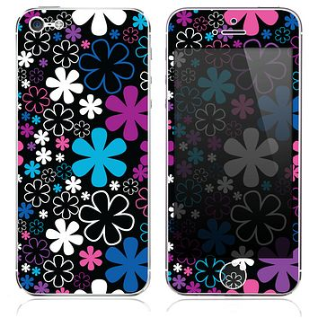 The Pink-Black & Blue Vector Flowers Skin for the iPhone 3, 4-4s, 5-5s or 5c