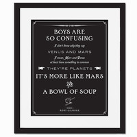 Boys Are So Confusing - Art Print - Quotation-  Typography Poster - Funny Gilmore Girls - 8 x 10 Wall Decor