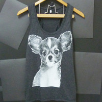 Chihuahua tank top S,M,L,XL,XXL animal screen printing dog shirt light black/ plus size clothes singlet women teen girl sleeveless shirt