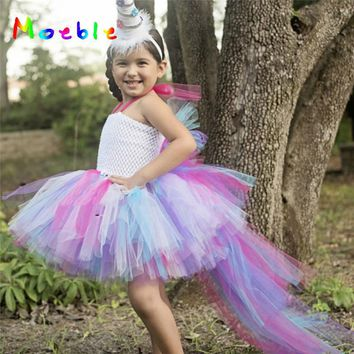 Unicorn Girl Dress Princess Rainbow Tutu Dress Kids Cosplay Clothing Christmas Costume Children Party Dresses Baby Clothes