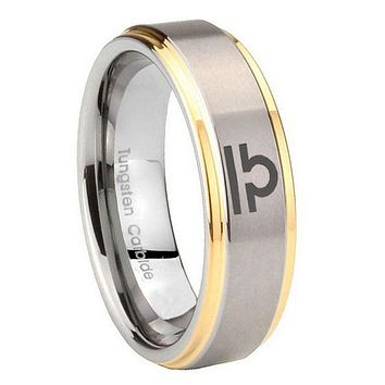 10mm Libra Horoscope Step Edges Gold 2 Tone Tungsten Carbide Mens Promise Ring