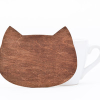 Drink coasters, Wooden Cat coaster for cups, barware, Brown coasters, Many color variations