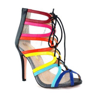Mesh Open Toe Rainbow Lace Up Heels