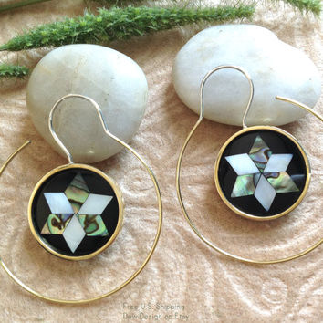 "Earrings, Jewish ""The Magen David"" Handcrafted, MOP Shell, Paua Shell, Brass & Sterling, Classy Hoops"